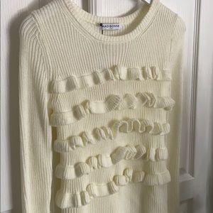 Madisonne Ivory Ruffled Sweater